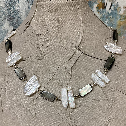 Sterling silver, shell and freshwater pearl necklace