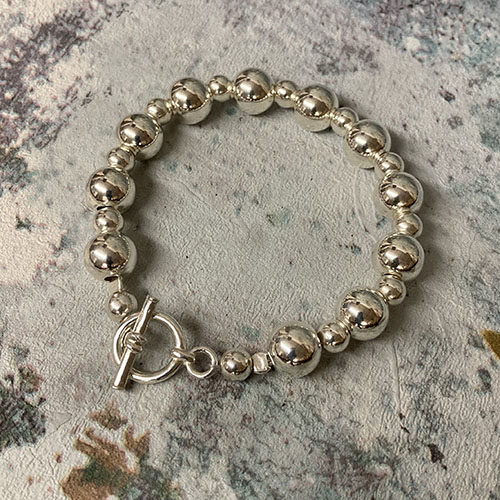 Sterling silver bead bracelet with chunky T-bar fitting