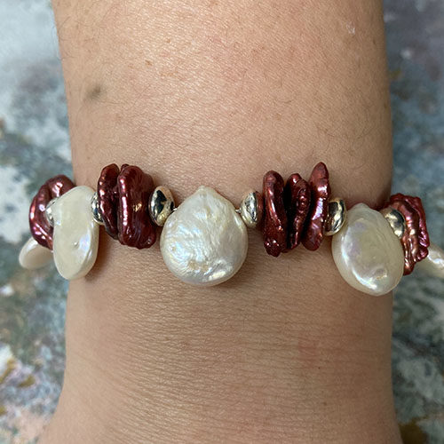 Sterling silver, white and burgundy pearl bracelet
