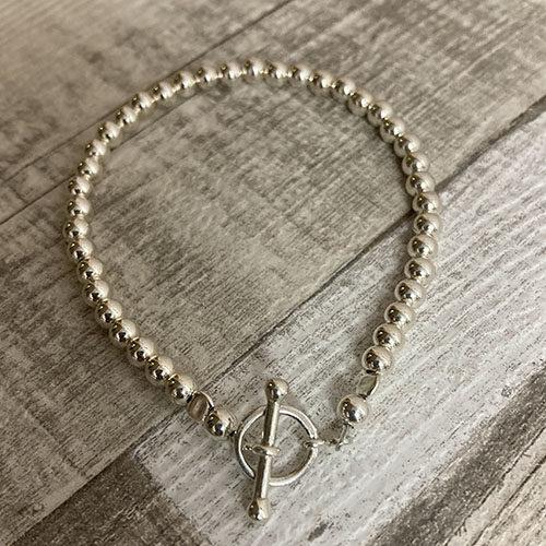 Sterling silver 4mm silver beaded bracelet
