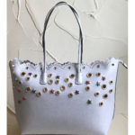 Large silver-grey fashion shoulder bag