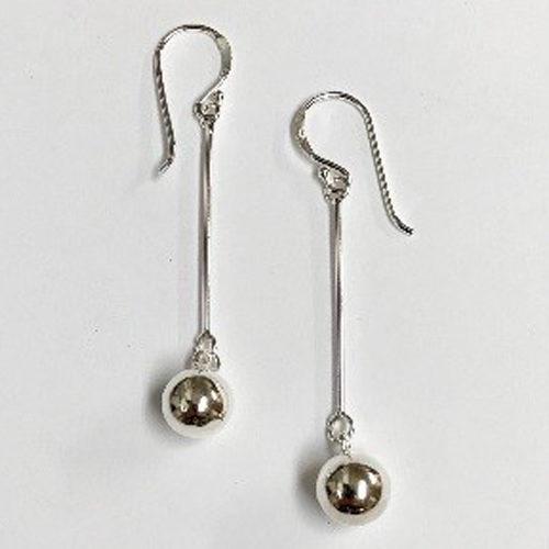 Long 50mm drop ball sterling silver earrings