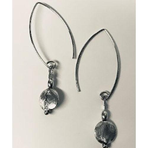 Long hook sterling silver satin finish earrings_
