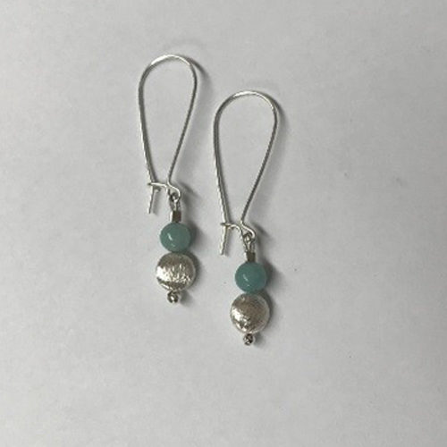 Long sterling silver and aventurine earrings