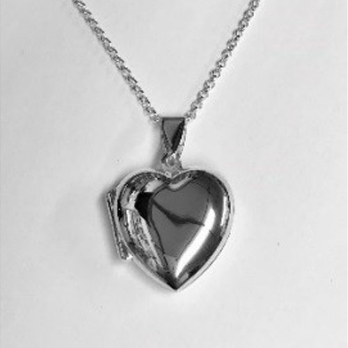 Plain sterling silver heart locket on a silver chain