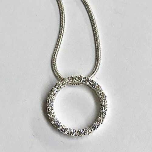 Sterling silver 18mm open cubic zirconia round circle pendant on an 18 inch silver snake chain