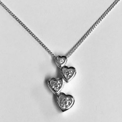 Sterling silver 4 hearts drop pendant with a clear cubic zirconia stone on a silver chain