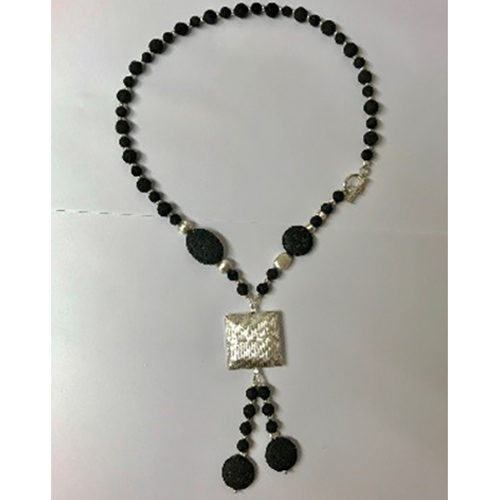 Sterling silver and black lava necklace_