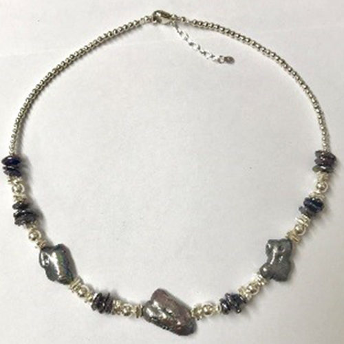 Sterling silver and blue freshwater biwa pearl necklace