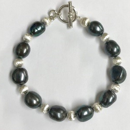 Sterling silver and blue freshwater pearl bracelet 2