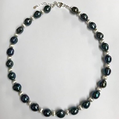 Sterling silver and blue freshwater pearl necklace