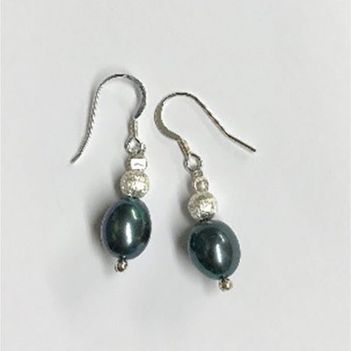 Sterling silver and blue pearl earrings