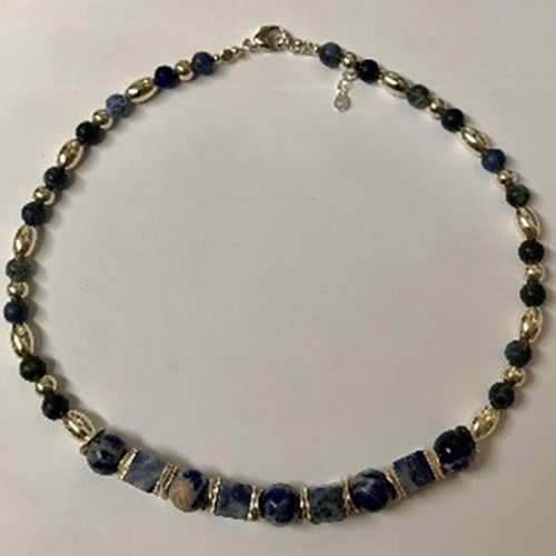 Sterling silver and blue sodalite necklace