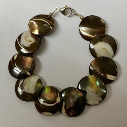 Sterling silver and brown mother of pearl bracelet