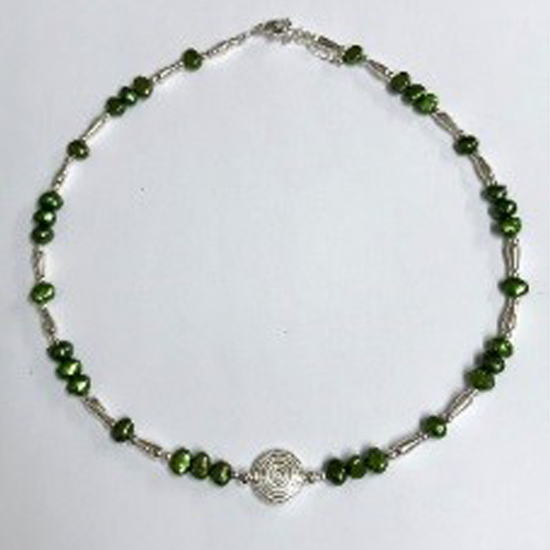 Sterling silver and green freshwater pearl necklace