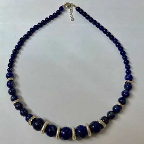 Sterling silver and lapis lazuli necklace 2