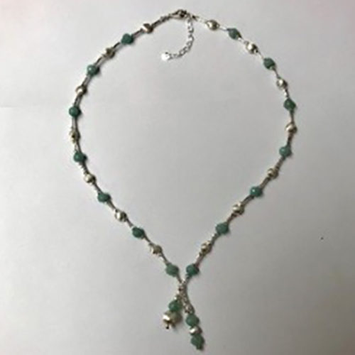 Sterling silver and light green aventurine stone necklace