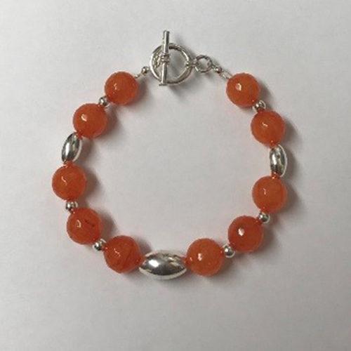 Sterling silver and orange jade bracelet