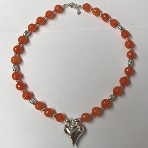 Sterling silver and orange jade necklace