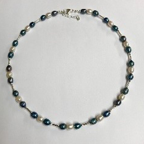 Sterling silver and pale peacock blue freshwater pearl necklace