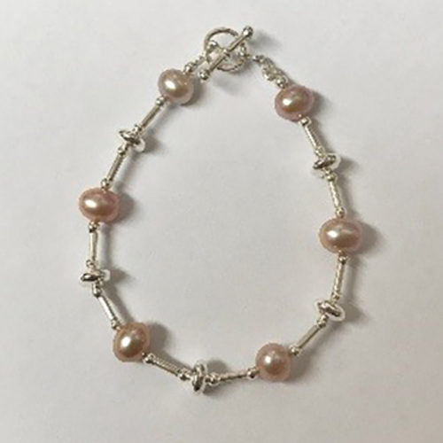 Sterling silver and pale pink freshwater bracelet