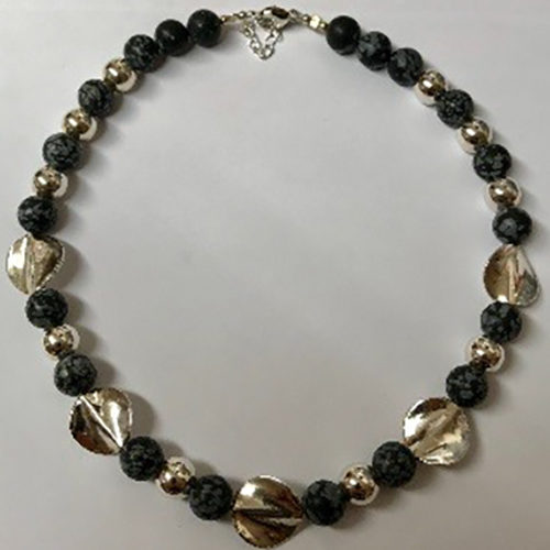 Sterling silver and snowflake obsidian necklace