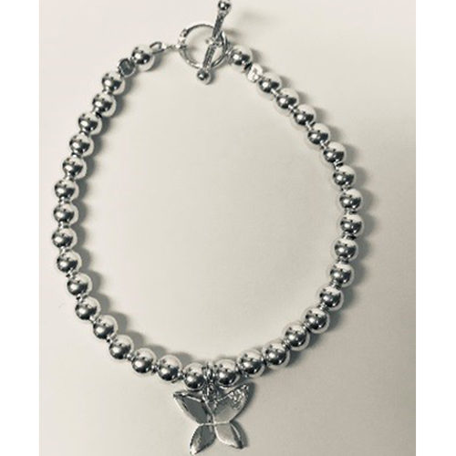 Sterling silver bead bracelet with silver butterfly charm and T-bar