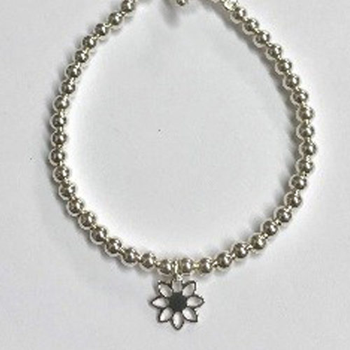 Sterling silver bracelet with 4mm beads and open flower charm
