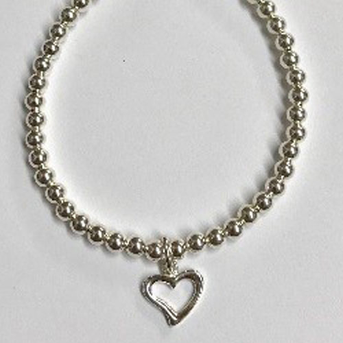Sterling silver bracelet with 4mm beads and open heart charm