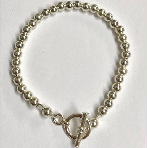 Sterling silver bracelet with 4mm silver beads 2