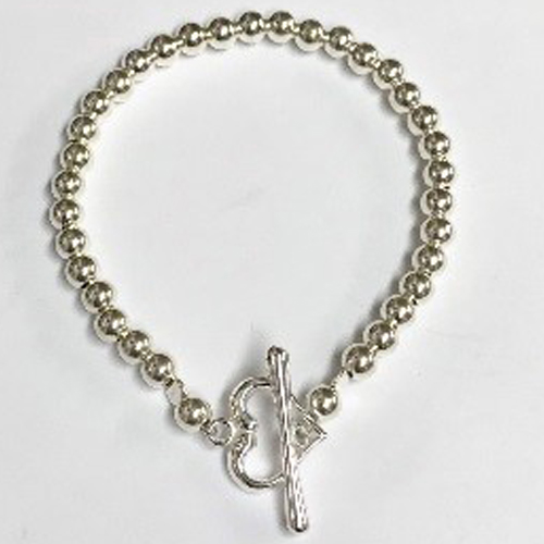 Sterling silver bracelet with 5mm silver beads 2