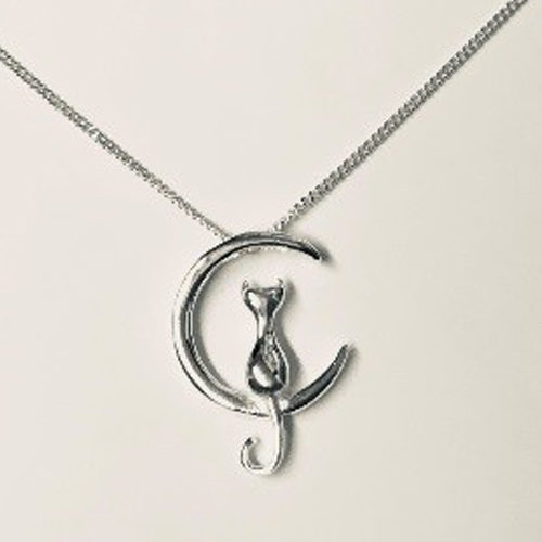 Sterling silver cat on the moon pendant on a silver chain