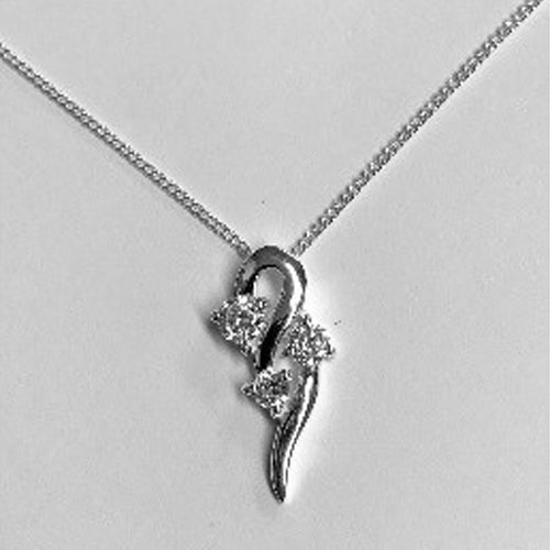Sterling silver drop pendant with three cubic zirconia clear stones