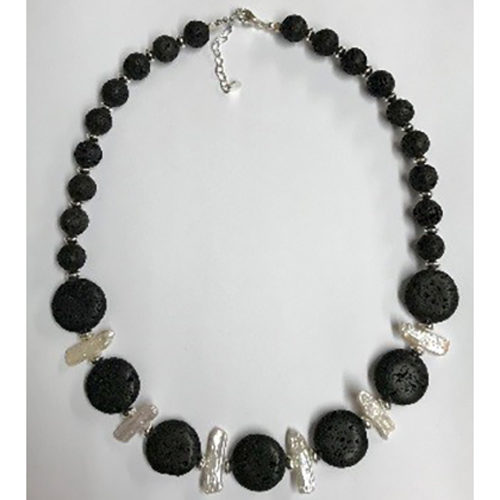 Sterling silver, freshwater biwa pearl and black lava necklace