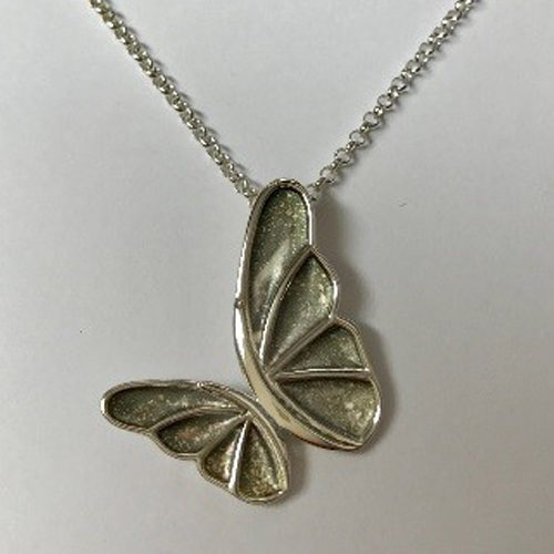 Sterling silver open double butterfly pendant on a silver chain