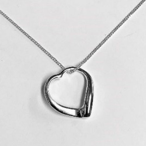 Sterling silver open heart pendant on a silver chain