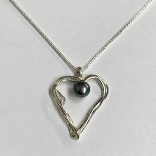 Sterling silver open heart pendant with a blue freshwater pearl on a silver chain