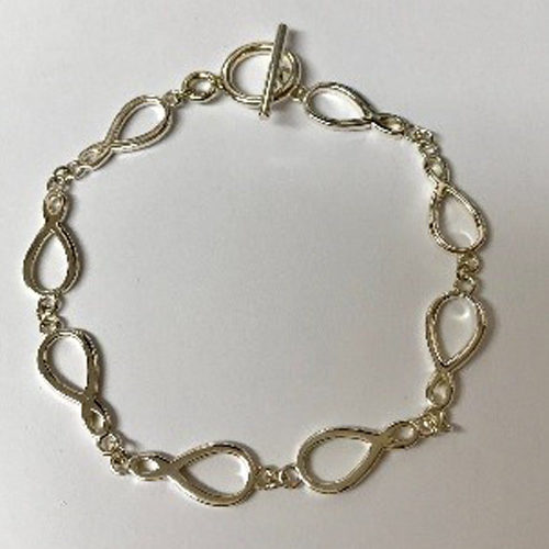 Sterling silver open link bracelet with T-bar fitting