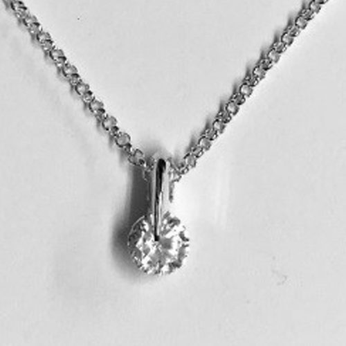 Sterling silver pendant with a clear cubic zirconia stone on a silver