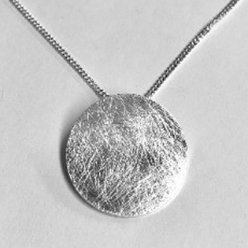 Sterling silver scratched effect round disc pendant on a silver chain