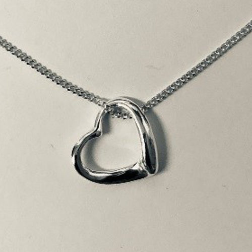 Sterling silver small open-heart pendant on a silver chain