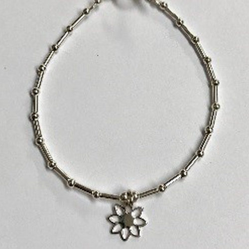 Sterling silver tube and bead bracelet with open flower charm