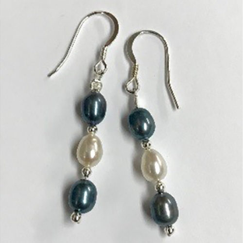 Sterling silver, white and blue pearl earrings