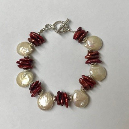 Sterling silver, white and burgundy freshwater pearl bracelet
