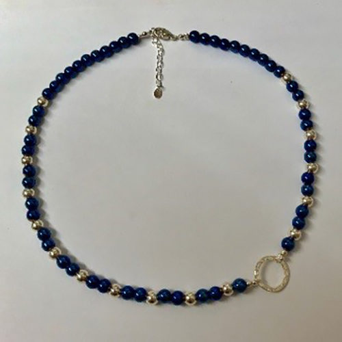 blue electro plated hematite and sterling silver necklace with silver hammered effect