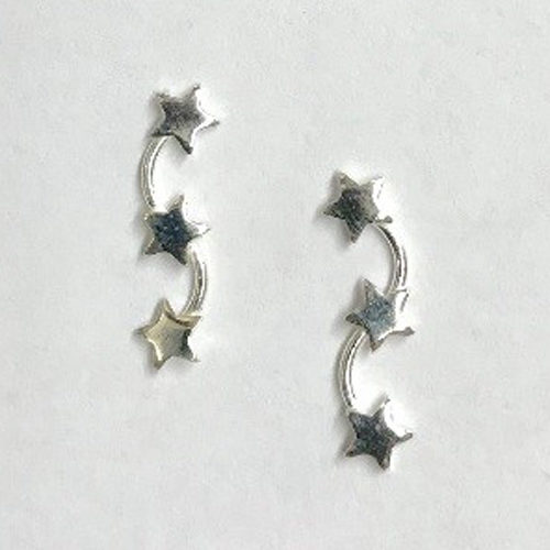 15mm sterling silver earrings with three silver star shapes