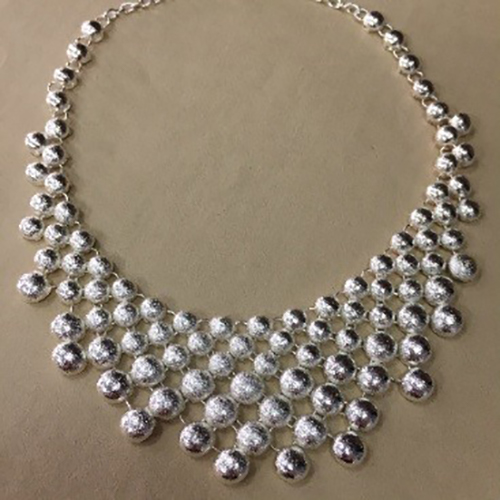 16-inch silver coloured costume necklace