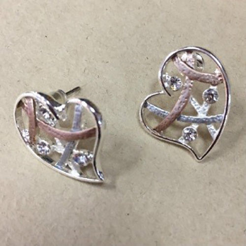 20mm heart shape costume earrings in a silver and rose gold colour with clear cubic zirconia stones