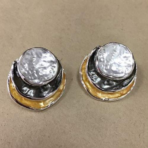 Costume 20mm stud earrings in a silver, grey and gold colour
