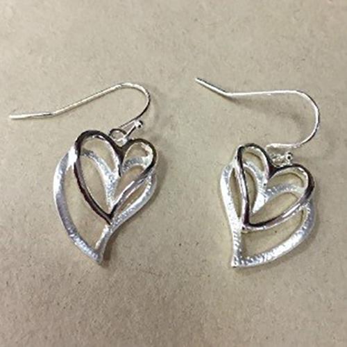 Costume double heart drop earrings in a silver colour